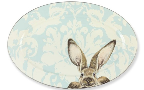 Williams Sonoma Damask Easter Bunny Platter
