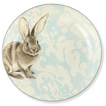 Williams Sonoma Damask Easter Bunny Serving Bowl