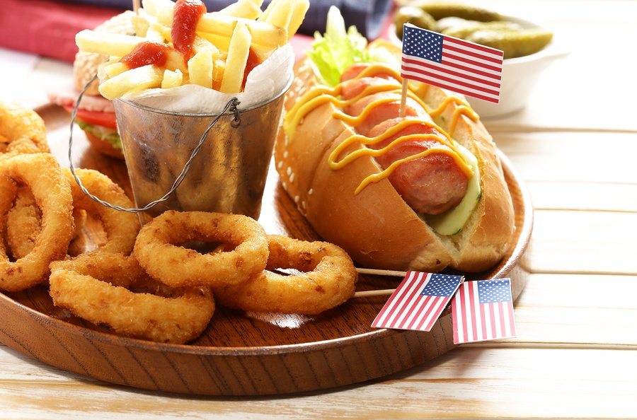 Grilled Hotdogs and Onion Rings
