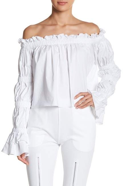 TOV Off-The-Shoulder Ruffle Crop Blouse