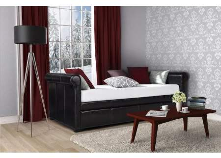 DHP Giada Upholstered Faux Leather Daybed and Trundle