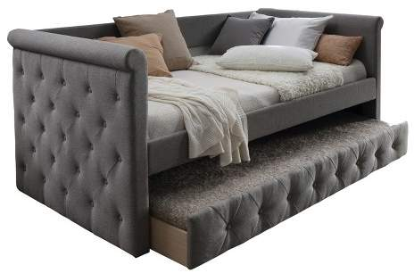 Home Source Upholstered Daybed with Trundle Gray