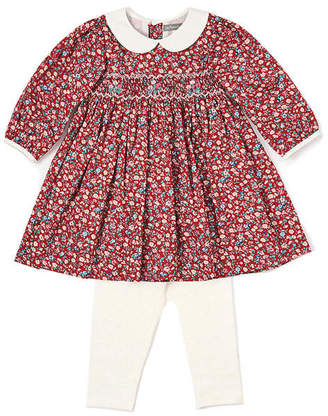Red Floral Smocked Baby Doll Dress
