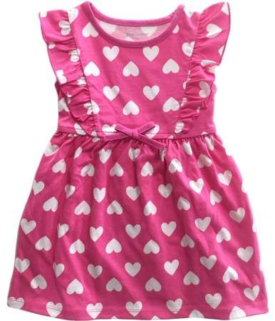 Healthtex Toddler Girl Flutter Sleeve Heart Pink Knit Dress