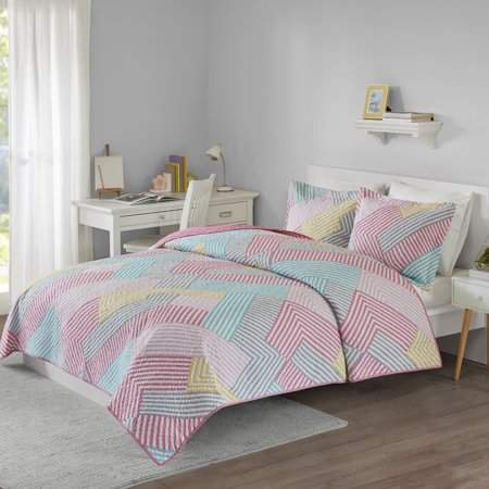 Your Zone Printed Geo Stripe Mini Quilt and Sham Set