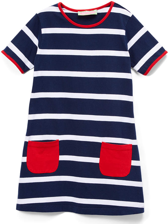Navy and Red Stripe Shift Dress