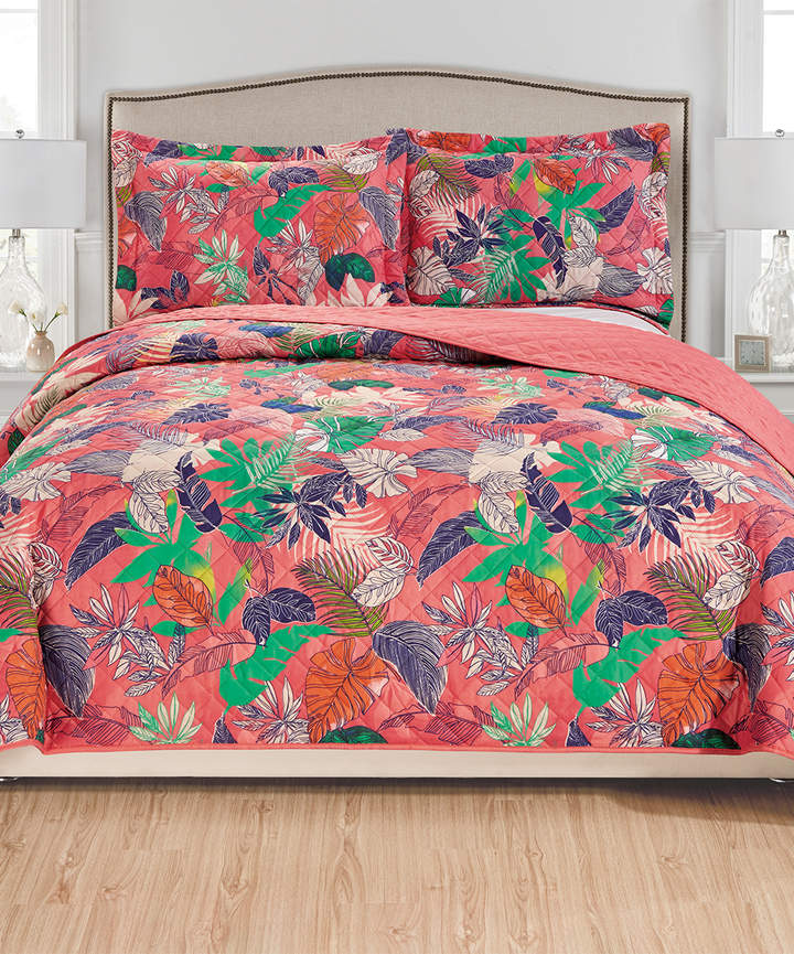 Navy and Green Belize Reversible Quilt Set